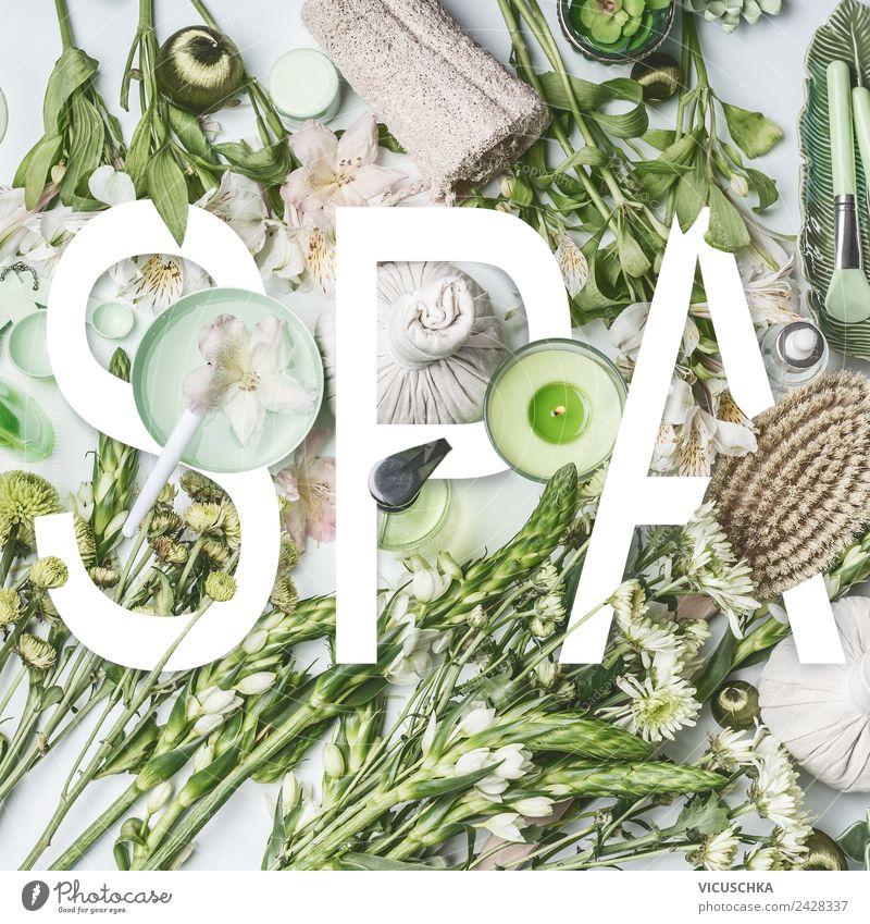 Wort Spa mit Kosmetik und Wellness Accessoires Natur Pflanze schön grün Blume Erholung Gesundheit Gesundheitswesen Stil Design Dekoration & Verzierung