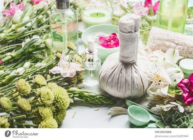 Grüne Kosmetik und Spa mit Blumen Natur Ferien & Urlaub & Reisen Pflanze schön grün Erholung Gesundheit Gesundheitswesen Stil Design Dinge Wellness Sammlung
