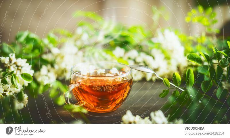 Tasse mit frischem Kräutertee auf dem Tisch Lebensmittel Kräuter & Gewürze Ernährung Frühstück Getränk Heißgetränk Tee Lifestyle Design Gesundheit
