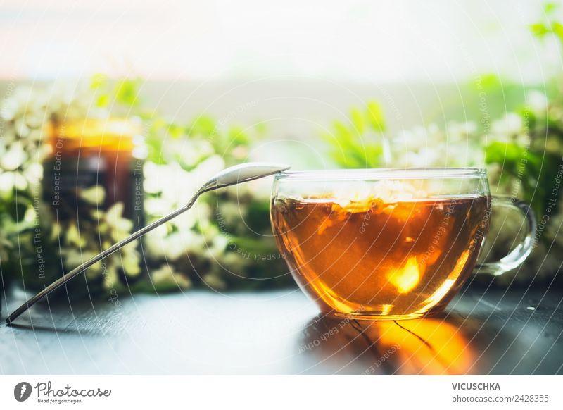 Tasse mit frischem Kräutertee und Honig Getränk Heißgetränk Tee Geschirr Lifestyle Stil Design Gesundheit Gesunde Ernährung Häusliches Leben Tisch horizontal