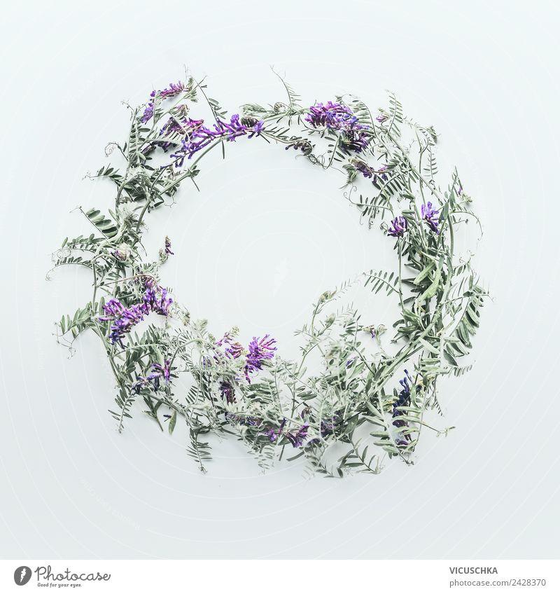Wildblumen Kranz Stil Design Sommer Natur Pflanze Blume Dekoration & Verzierung Blumenstrauß Ornament Hintergrundbild arrangiert Wiesenblume Farbfoto