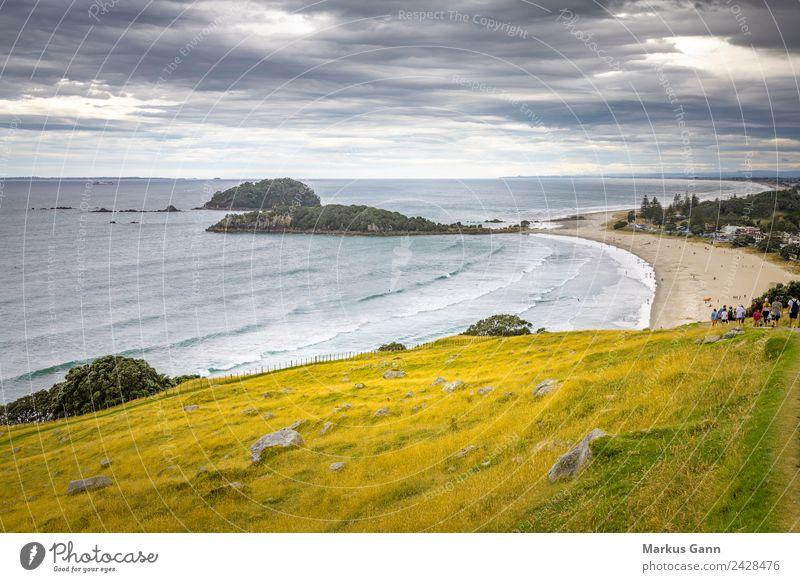 Mount Maunganui Neuseeland Sommer Erholung Strand gelb grau Sand Island Surfen Großstadt Auckland