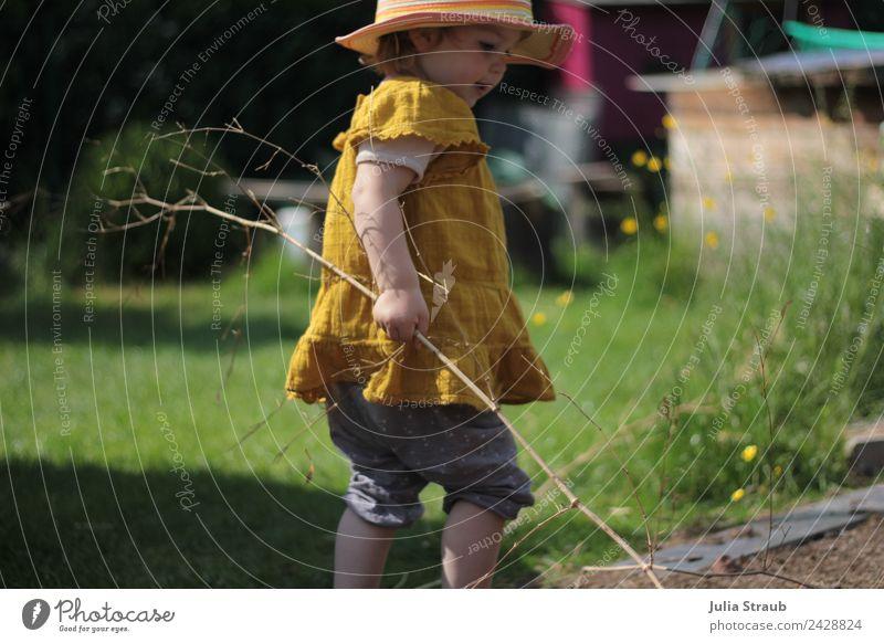 Garten Mädchen Wiese feminin Kleinkind 1 Mensch 1-3 Jahre Ast Bambusrohr Hose Kleid Hut beobachten berühren Bewegung natürlich Neugier niedlich gelb grün