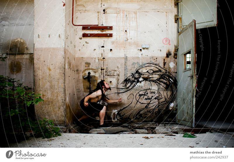 YOU WANT TO RAM WITH ME? Mensch Jugendliche dunkel Fenster Wand Graffiti Gebäude Mauer Tür Fassade maskulin wild Schriftzeichen außergewöhnlich trist bedrohlich