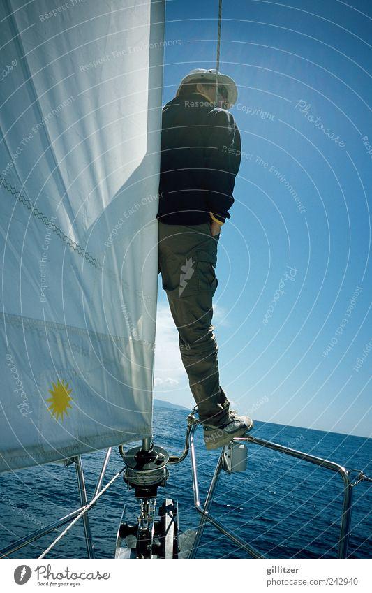 Segeltour in Kroatien Sport Wassersport Segeln Mensch maskulin Mann Erwachsene 30-45 Jahre Sonnenlicht Sommer Meer Bootsfahrt Sportboot Jacht Segelboot