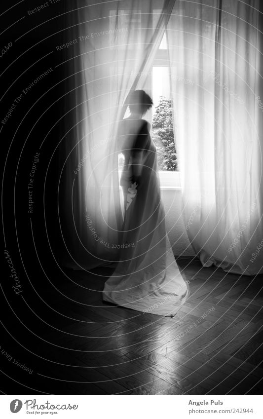 sehnsucht Mensch feminin Frau Erwachsene 1 Vorhang Bettlaken beobachten stehen warten schwarz weiß Schwarzweißfoto Innenaufnahme Textfreiraum links Licht
