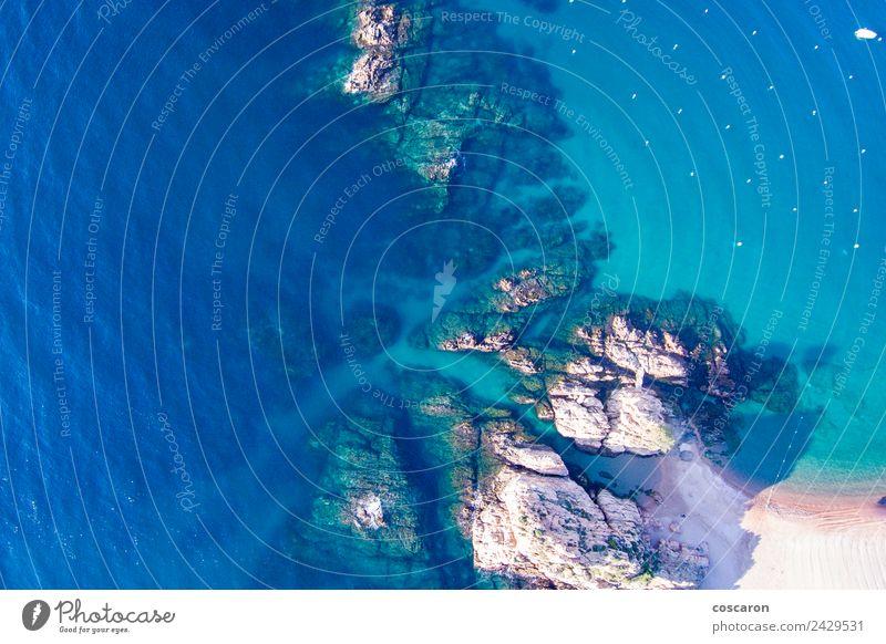 Luftaufnahme der Felsen an der Küste der Costa Brava schön Ferien & Urlaub & Reisen Tourismus Sommer Strand Meer Natur Landschaft Himmel Fluggerät blau