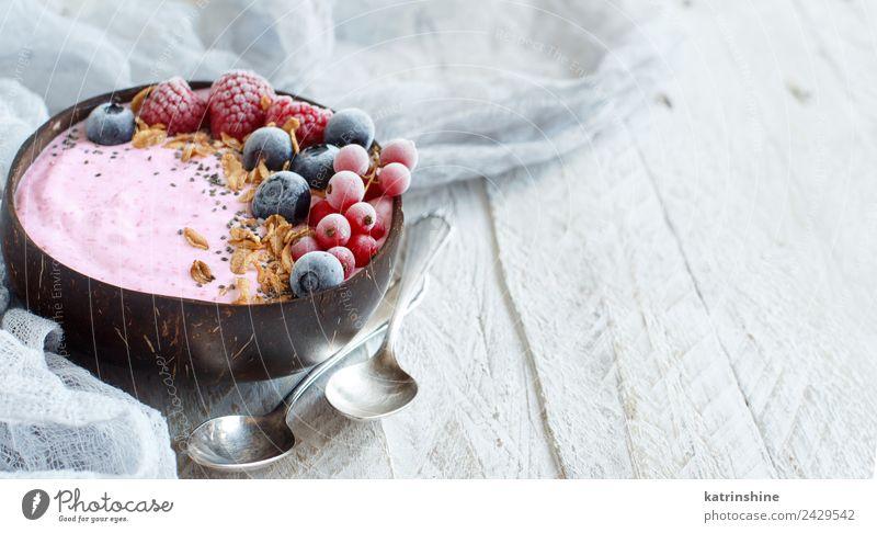 Waldfrüchte Smoothie-Schale Joghurt Frucht Dessert Ernährung Frühstück Vegetarische Ernährung Diät Schalen & Schüsseln Löffel Sommer frisch grau rosa rot weiß