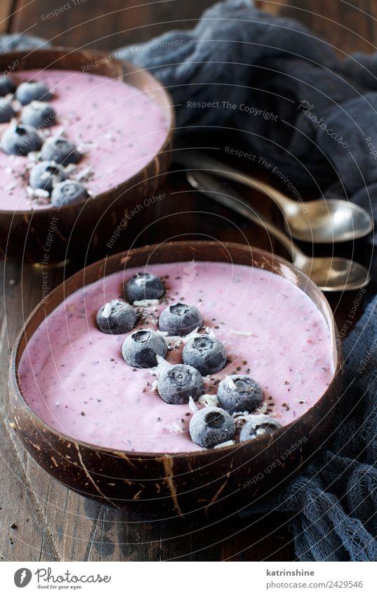 Heidelbeere Smoothie Schalen Joghurt Frucht Dessert Ernährung Frühstück Vegetarische Ernährung Diät Schalen & Schüsseln Löffel Sommer frisch braun rosa rot weiß