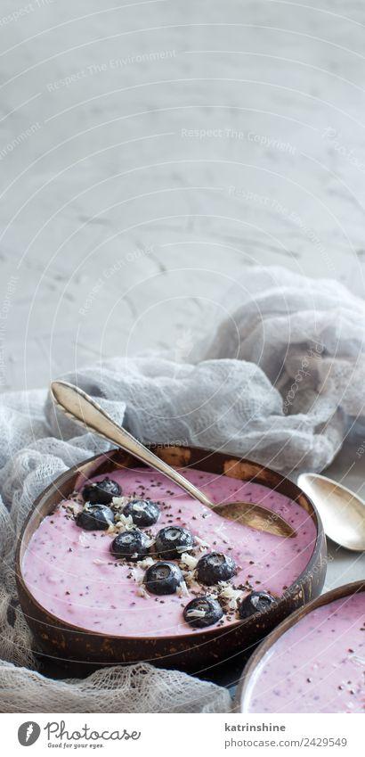 Heidelbeere Smoothie Schalen Joghurt Frucht Dessert Ernährung Frühstück Vegetarische Ernährung Diät Schalen & Schüsseln Sommer frisch grau rosa rot weiß