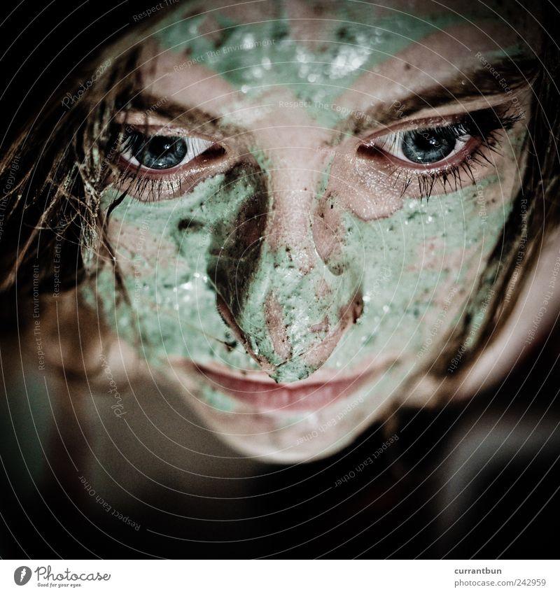 galionsfigurenbewerbungsbild Wasser grün schön Auge feminin Zufriedenheit ästhetisch Wellness Bad Wimpern Gesichtsmaske