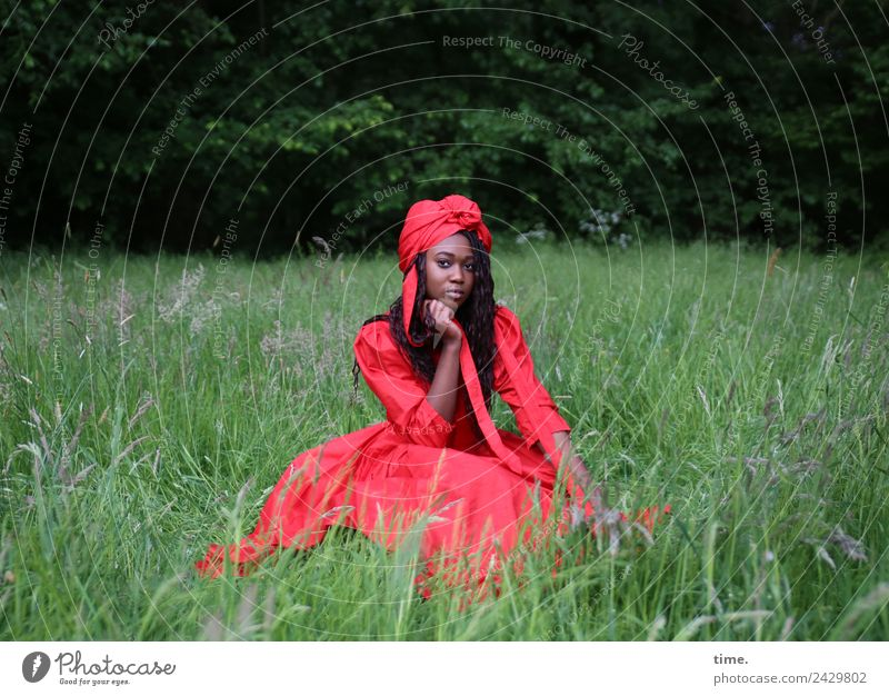 Romancia feminin Frau Erwachsene 1 Mensch Park Wiese Wald Kleid Kopftuch brünett langhaarig Locken beobachten Denken festhalten Blick sitzen schön rot