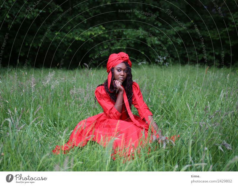 Romancia Frau Mensch schön rot ruhig Wald Erwachsene Wiese feminin Zeit Denken Park ästhetisch sitzen beobachten Coolness
