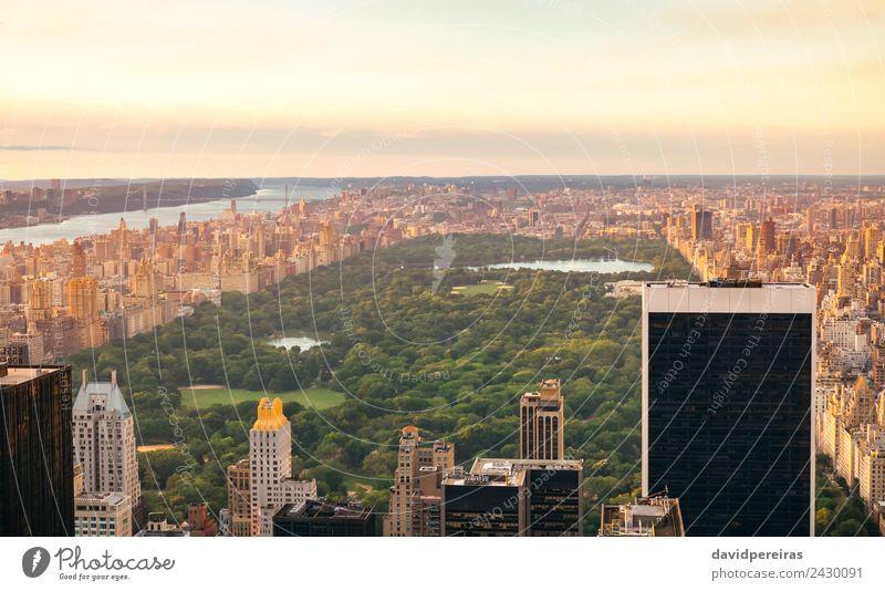 Luftaufnahme des Central Park in Manhattan Erholung Ferien & Urlaub & Reisen Tourismus Sightseeing Sommer Landschaft Himmel Stadtzentrum Skyline Hochhaus