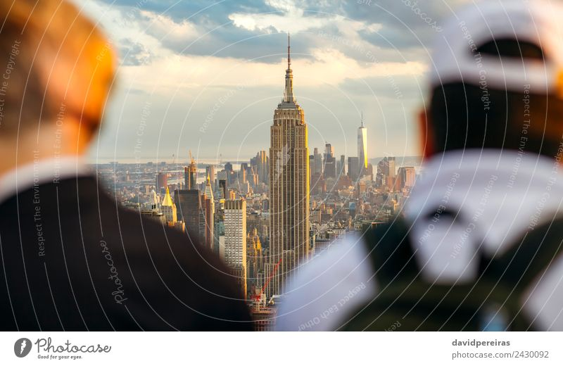 Vorderansicht des Empire State Building in Manhattan Ferien & Urlaub & Reisen Tourismus Sightseeing Sommer Mann Erwachsene Landschaft Erde Stadtzentrum Skyline