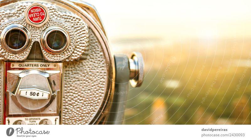 Fernglas für Touristen mit Münzbetrieb in New York City Ferien & Urlaub & Reisen Tourismus Sommer Sonne Landschaft Himmel Skyline Hochhaus Teleskop Metall Stahl