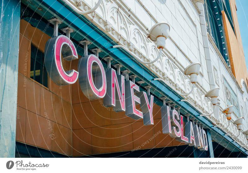 Coney Island Eingangsschild zur U-Bahn Ferien & Urlaub & Reisen Tourismus Strand Insel Stadtzentrum Architektur Verkehr Eisenbahn Linie alt neu Station Zeichen