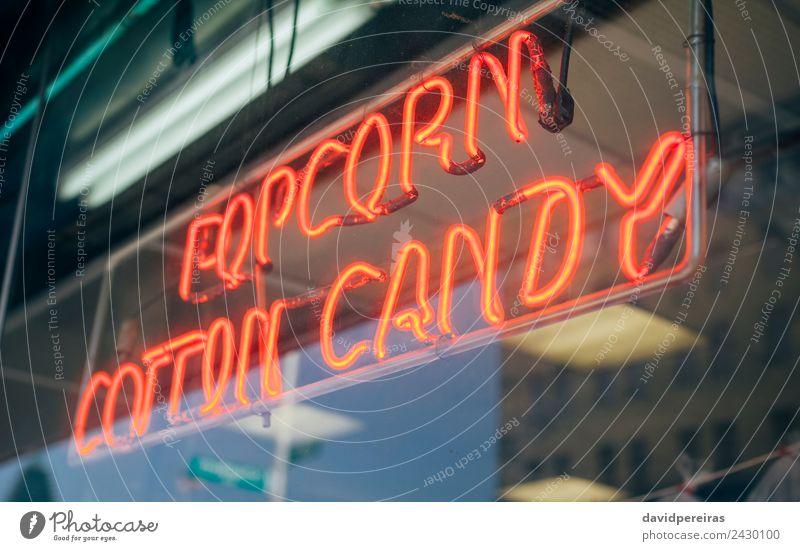Rotes Neonschild mit Schriftzug Popcorn Cotton Candy kaufen Design Dekoration & Verzierung Entertainment Hinweisschild Warnschild glänzend schreiben dunkel hell