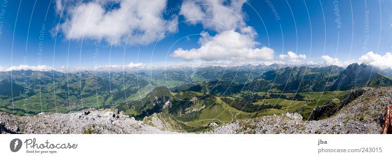 Panorama Saanenland Bergsteigen Ferien & Urlaub & Reisen Expedition Sommer Berge u. Gebirge wandern Natur Landschaft Urelemente Luft Himmel Schönes Wetter