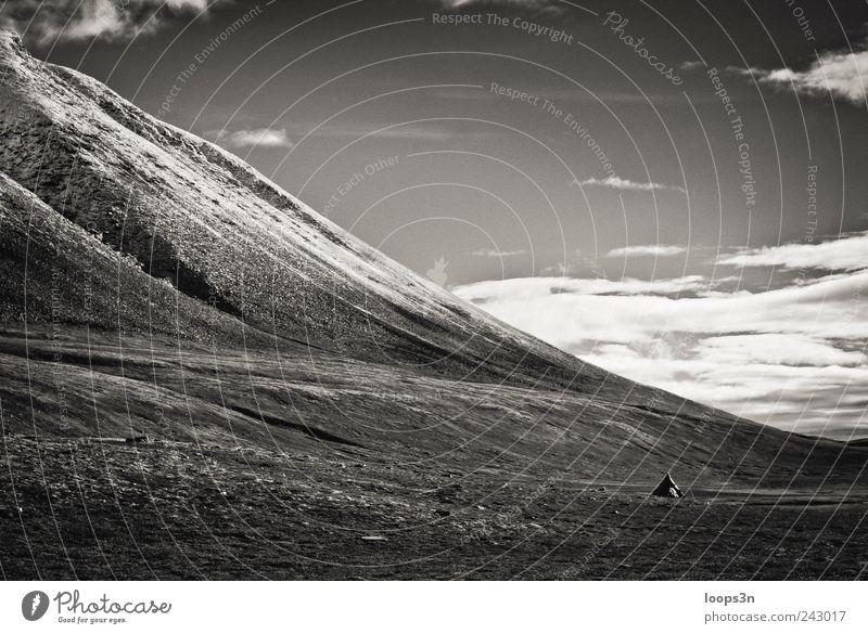 Norge: Tent Ferne Freiheit Camping Sommer Berge u. Gebirge wandern Landschaft Erde Himmel Wolken Schönes Wetter Schnee Moos Felsen Rondane Schneebedeckte Gipfel