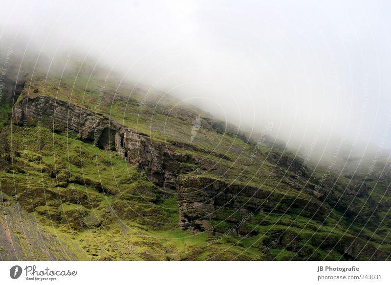 Icelands Nature grün schön Landschaft ruhig Wolken Berge u. Gebirge Nebel Island Wasserfall