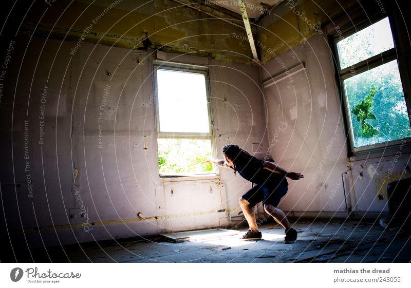 1400 - UND ES GEHT WEITER ... Mensch maskulin Junger Mann Jugendliche Industrieanlage Fabrik Ruine Bauwerk Gebäude Mauer Wand Fenster beobachten berühren