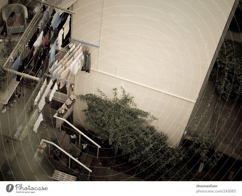 Ökotrockner Häusliches Leben Wohnung Haus Garten Balkon Sträucher Stadt Hafenstadt Stadtzentrum Mauer Wand Terrasse Innenhof Hinterhof Bekleidung Ordnungsliebe