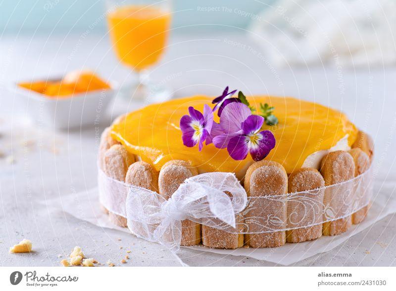 Maracuja-Pfirsich-Torte Kuchen backen orange Sommer Erfrischung Backwaren Dessert löffelbiskuit süß Konditorei konfiserie lecker rezept Lebensmittel