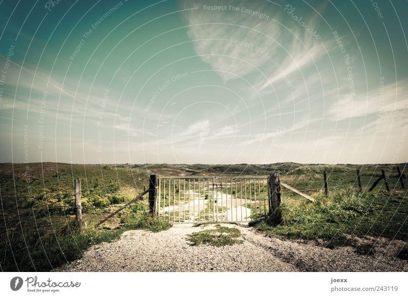 Heute geschlossen Himmel grün blau Sommer ruhig Wolken Wiese Gras Wege & Pfade Landschaft braun Umwelt groß Horizont trist Idylle