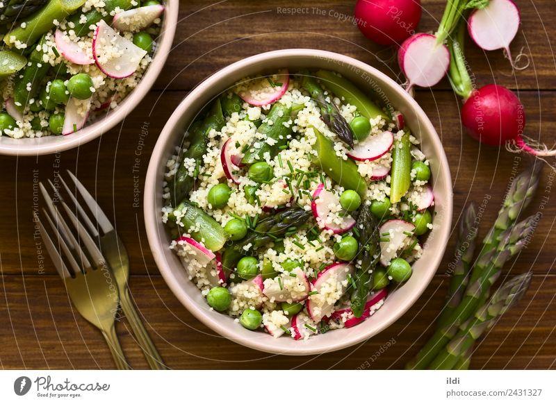 Couscous Spargel Erbsen Rettich Salat Gemüse Vegetarische Ernährung frisch Lebensmittel Salatbeilage Scheibe Schnittlauch Mahlzeit Speise roh gebastelt Snack
