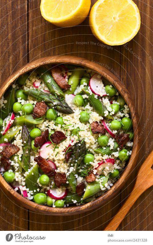 Couscous Spargel Erbsen Rettich Specksalat Gemüse Mittagessen Abendessen frisch Lebensmittel Salatbeilage Scheibe Mahlzeit Speise roh gebastelt Schweinefleisch