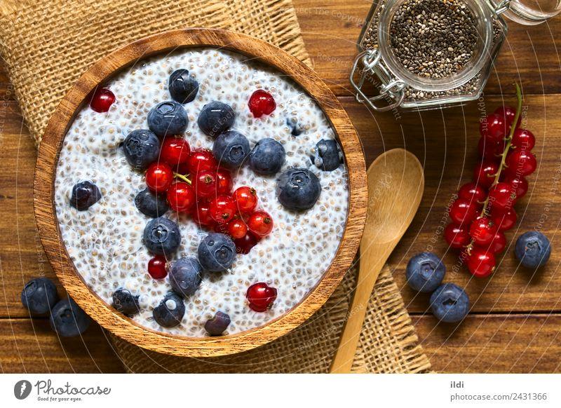 Beeren- und Chiapudding Frucht Frühstück frisch Lebensmittel Samen Pudding Blaubeeren Johannisbeeren roh melken süß Salbei hispanica Superfood Gesundheit Snack