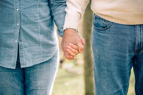 Seniorenpaar, das sich über den Naturhintergrund hält. Lifestyle Erholung Freizeit & Hobby Ruhestand Mensch Familie & Verwandtschaft Paar Erwachsene Hand Baum