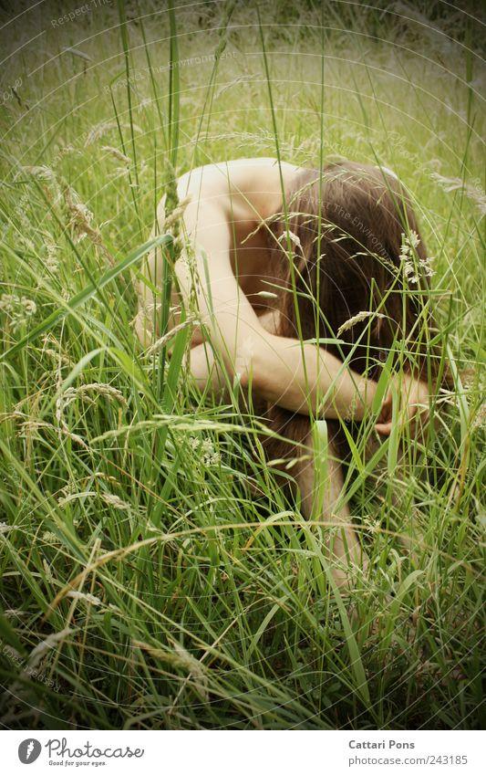 They miss ... Mensch Mann Natur Jugendliche grün Pflanze Erwachsene Einsamkeit Wiese Gras Traurigkeit träumen Feld natürlich maskulin authentisch