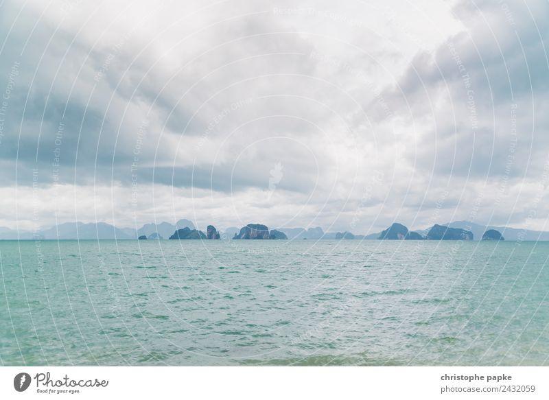 Land in Sicht Himmel Ferien & Urlaub & Reisen Sommer Landschaft Meer Erholung Wolken Ferne Küste Ausflug Horizont Wellen Insel Abenteuer entdecken Sommerurlaub