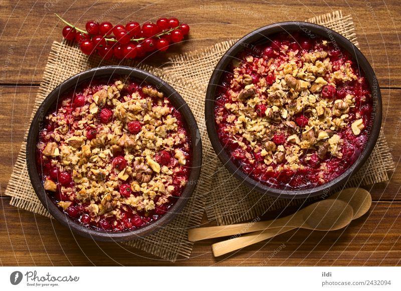 Ribiselstreusel Frucht Dessert frisch natürlich Lebensmittel süß Johannisbeeren bröckeln knusprig Nut Walnussholz Hafer Haferflocken backen gebastelt