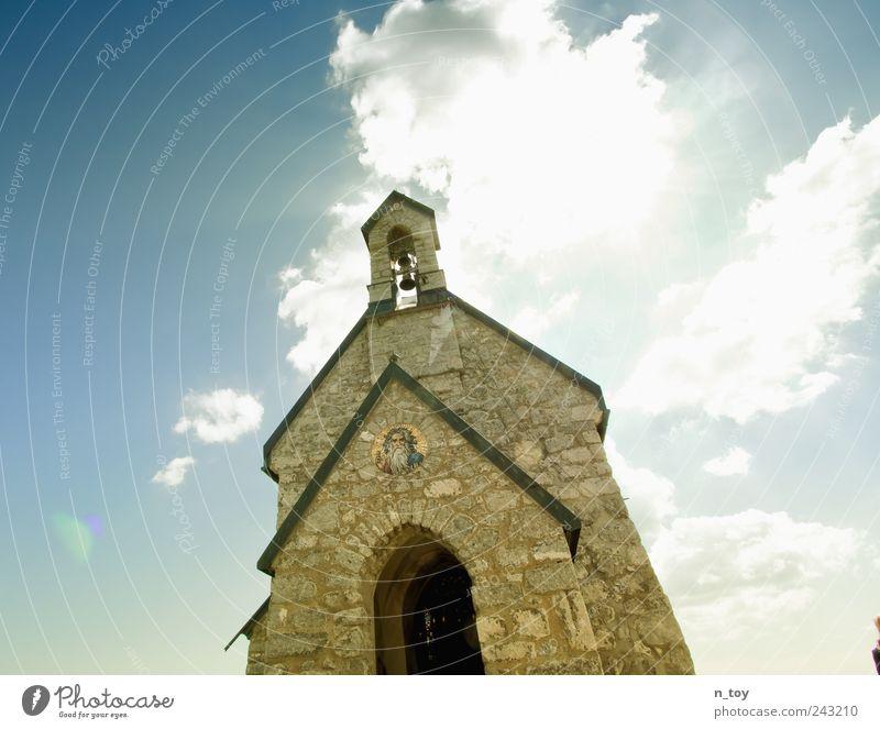 Kapelle Himmel ruhig Wolken Wand Mauer Religion & Glaube Architektur Kirche Turm Bauwerk Bayern Glaube Gott Christentum Blauer Himmel Gotteshäuser