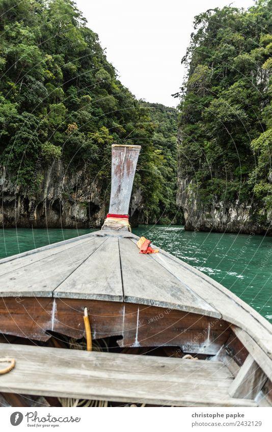 Blick aus longtail Boot auf Inseln in Thailand Ferien & Urlaub & Reisen Ausflug Abenteuer Ferne Sommer Sommerurlaub Meer Wellen Umwelt Natur Landschaft Urwald
