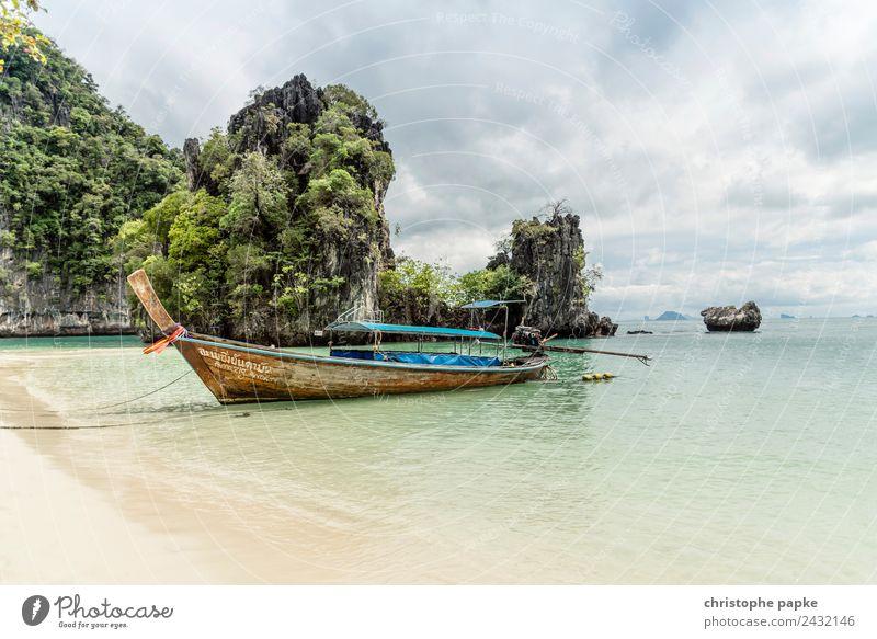 Longtail am Strand Ferien & Urlaub & Reisen Ausflug Ferne Sommer Sommerurlaub Landschaft Wolken Wellen Küste Bucht Meer Thailand Schifffahrt Fischerboot