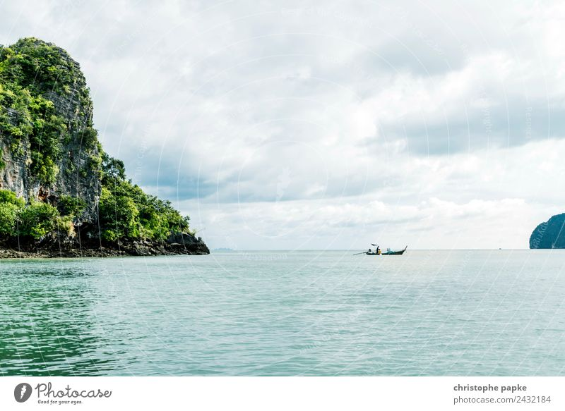 Eine Insel Ferien & Urlaub & Reisen Abenteuer Ferne Sommer Sommerurlaub Meer Wellen Landschaft Pflanze Baum Urwald Hügel Felsen Küste Thailand
