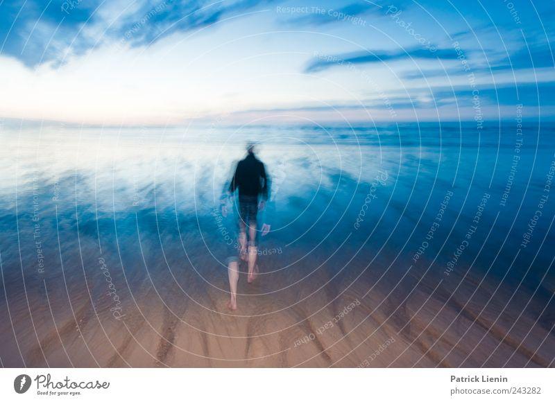 Into the water Mensch Natur schön Himmel Meer Strand Einsamkeit Bewegung Freiheit Landschaft Luft Zufriedenheit Stimmung Küste Wellen Wind