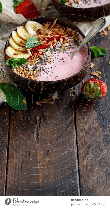 Waldfrüchte Smoothie-Schalen Joghurt Frucht Dessert Ernährung Frühstück Vegetarische Ernährung Diät Schalen & Schüsseln Löffel Sommer frisch grau grün rosa rot