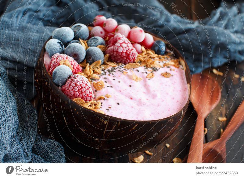 Waldfrüchte Smoothie-Schalen Joghurt Frucht Dessert Ernährung Frühstück Vegetarische Ernährung Diät Schalen & Schüsseln Löffel Sommer frisch rosa rot weiß