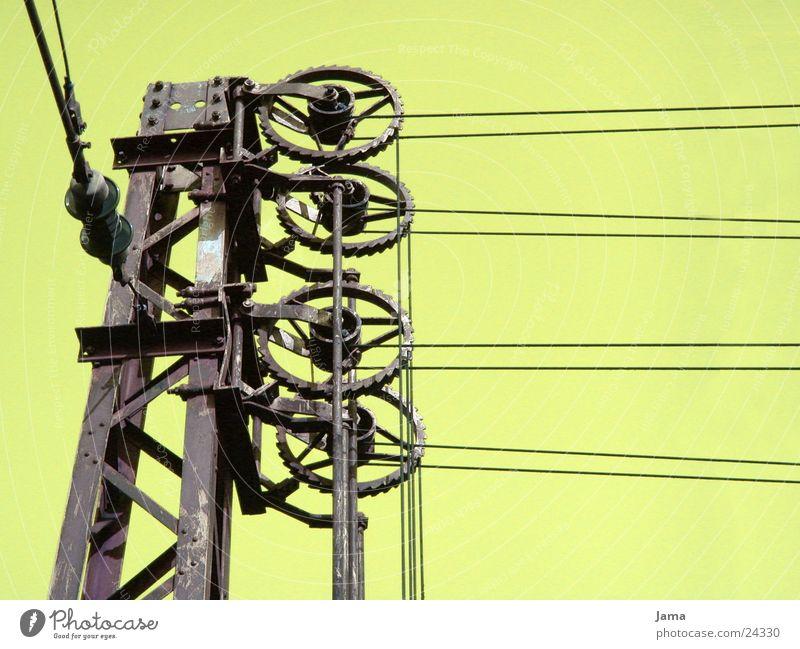 kabelgedöns Haken Eisen Elektrizität grün Elektrisches Gerät Technik & Technologie Kabel Eisenbahn verfremdung