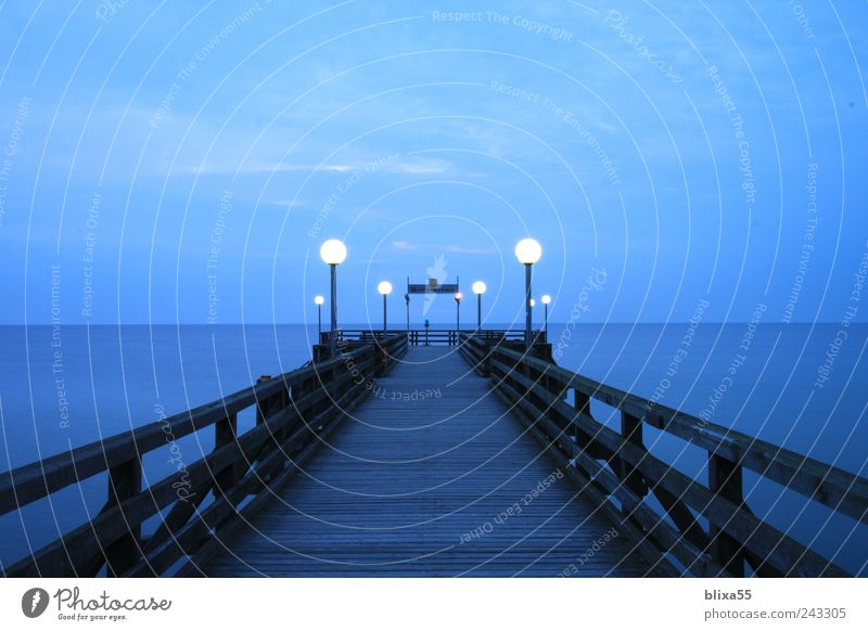 Seebrücke Himmel blau Sommer ruhig Deutschland Europa Brücke Nachthimmel Bauwerk Ostsee Heiligendamm