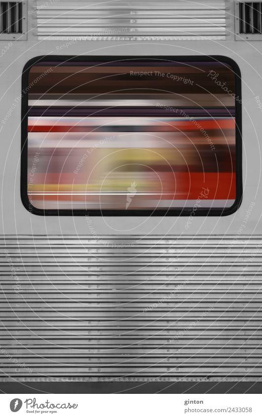 Abstraktes Zugfenster Verkehrsmittel Öffentlicher Personennahverkehr Schienenverkehr Bahnfahren Eisenbahn S-Bahn eckig einfach trendy Geschwindigkeit grau rot