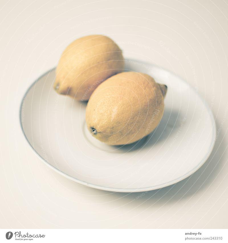 Zwei Zitronen. gelb hell liegen Frucht Ernährung Lebensmittel ästhetisch rund Gastronomie lecker Teller Bioprodukte exotisch Schalen & Schüsseln Zitrone Vegetarische Ernährung