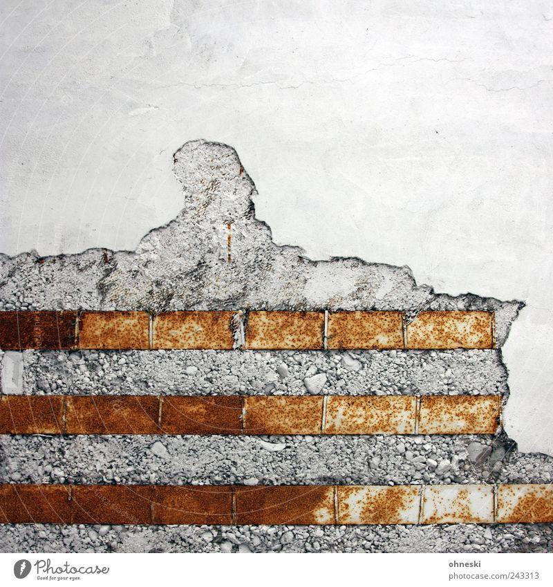 Kontraste alt Wand Mauer Gebäude Architektur Beton Stahl Verfall Rost Bauwerk Putz