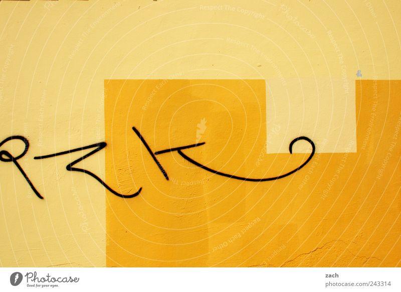 P Z K Subkultur Graffiti Haus Mauer Wand Beton Zeichen Schriftzeichen Ornament Linie zeichnen schreiben trendy gelb Farbfoto Außenaufnahme Tag