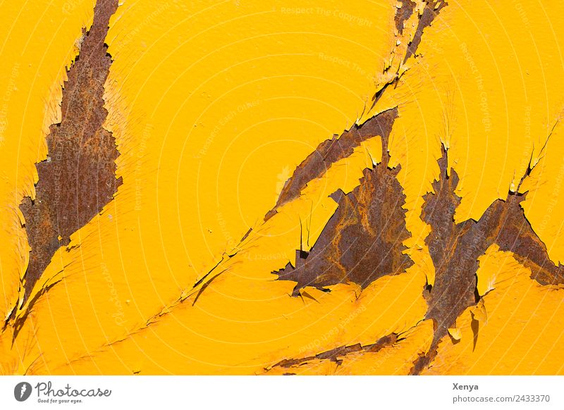 Gelber Rost Hintergrundbild gelb Wand Mauer braun Metall kaputt Stahl abblättern Lack